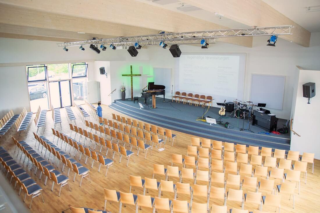 Gottesdienstsaal Blick von der Empore