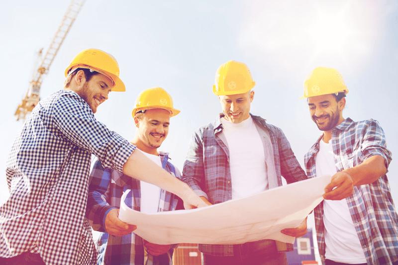 Bauteam auf der Baustelle