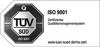 ISO 9001 Zertifikat TÜV Süd